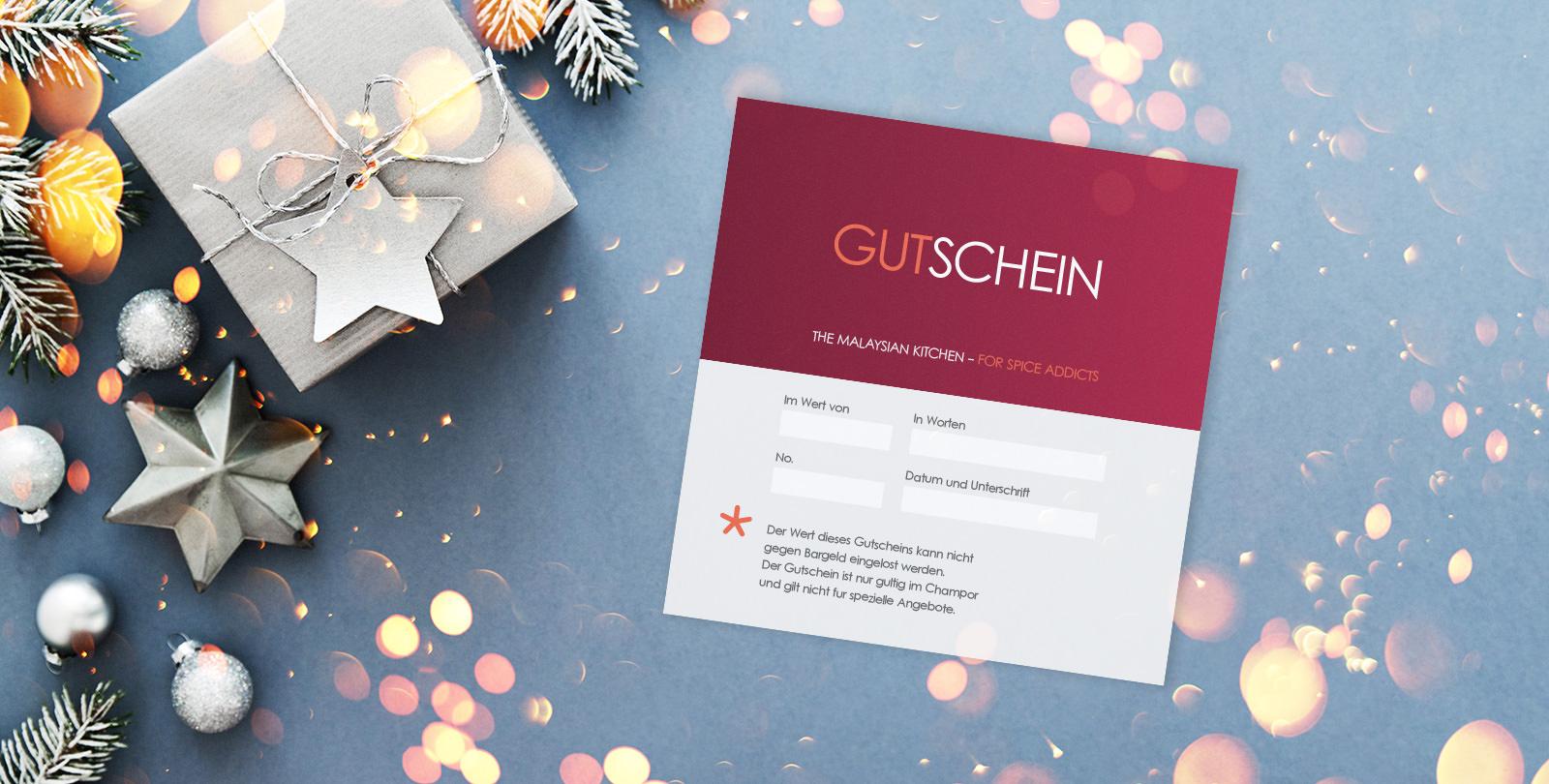 Champor Gutschein in Weichnachts-Kulisse